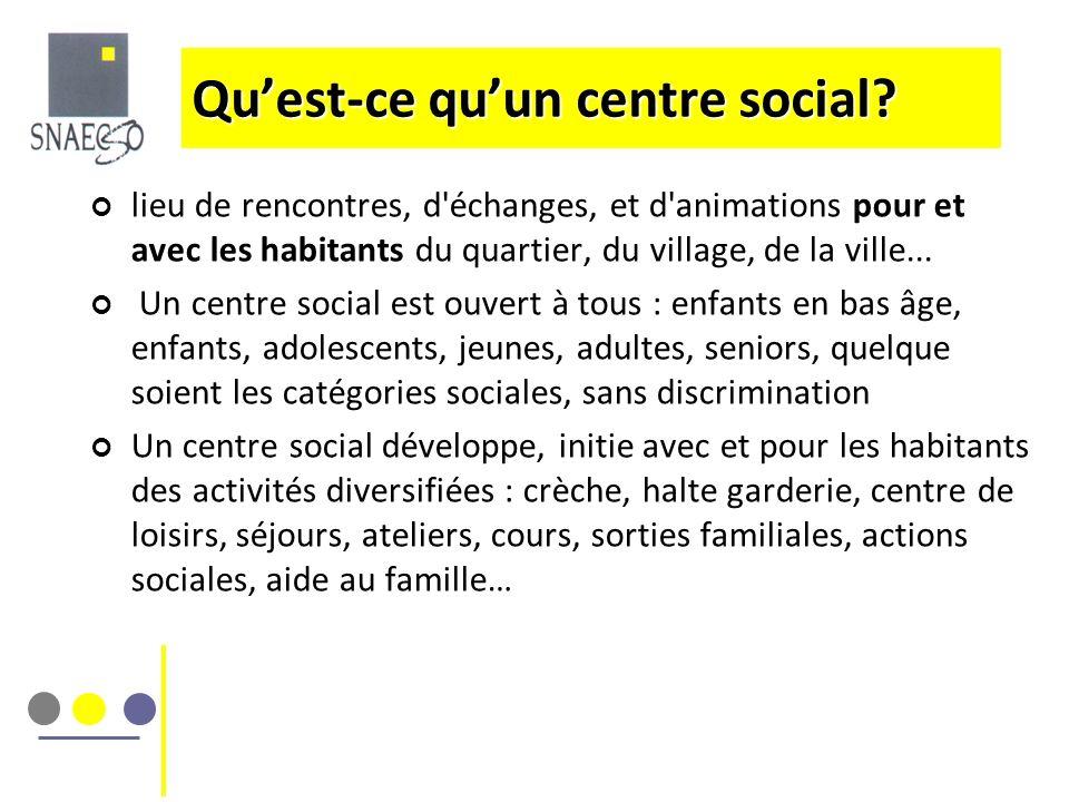 Quest-ce quun centre social? lieu de rencontres, d'échanges, et d'animations pour et avec les habitants du quartier, du village, de la ville... Un cen
