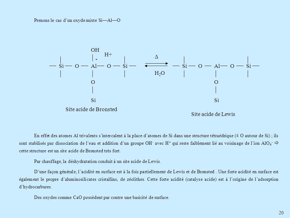 20 Prenons le cas dun oxyde mixte SiAlO En effet des atomes Al trivalents sintercalent à la place datomes de Si dans une structure tétraédrique (4 O a