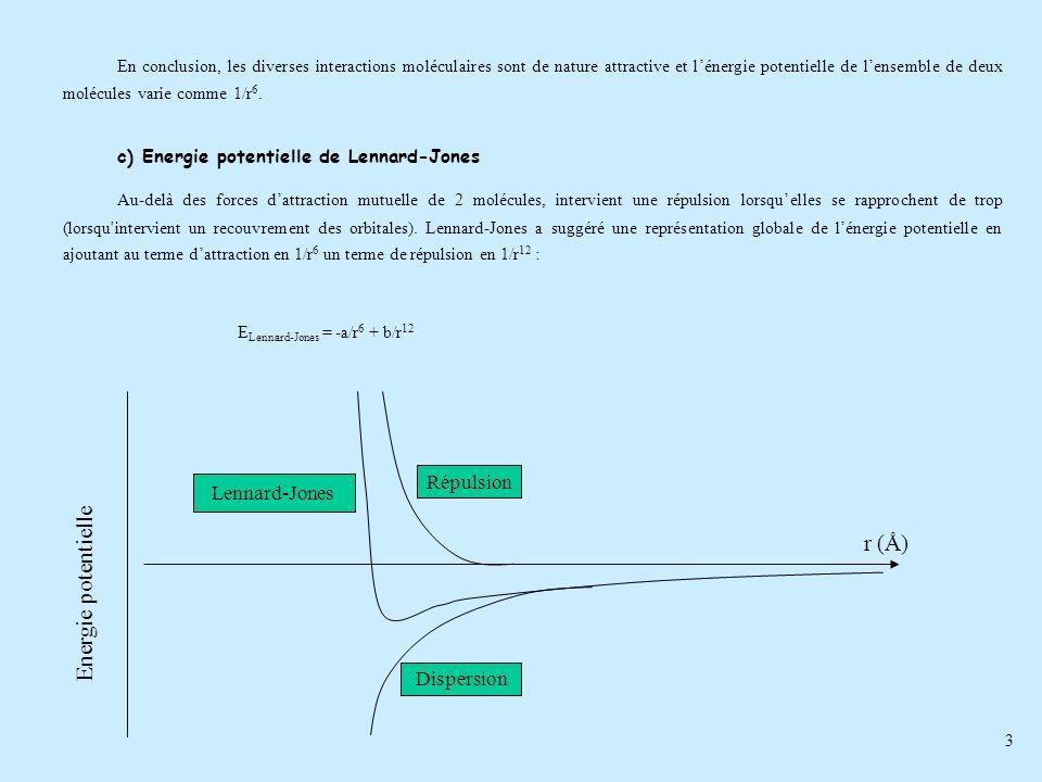 3 En conclusion, les diverses interactions moléculaires sont de nature attractive et lénergie potentielle de lensemble de deux molécules varie comme 1
