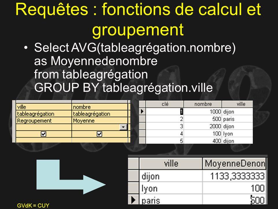 GVdK = CUY Requêtes : fonctions de calcul et groupement Select AVG(tableagrégation.nombre) as Moyennedenombre from tableagrégation GROUP BY tableagrég