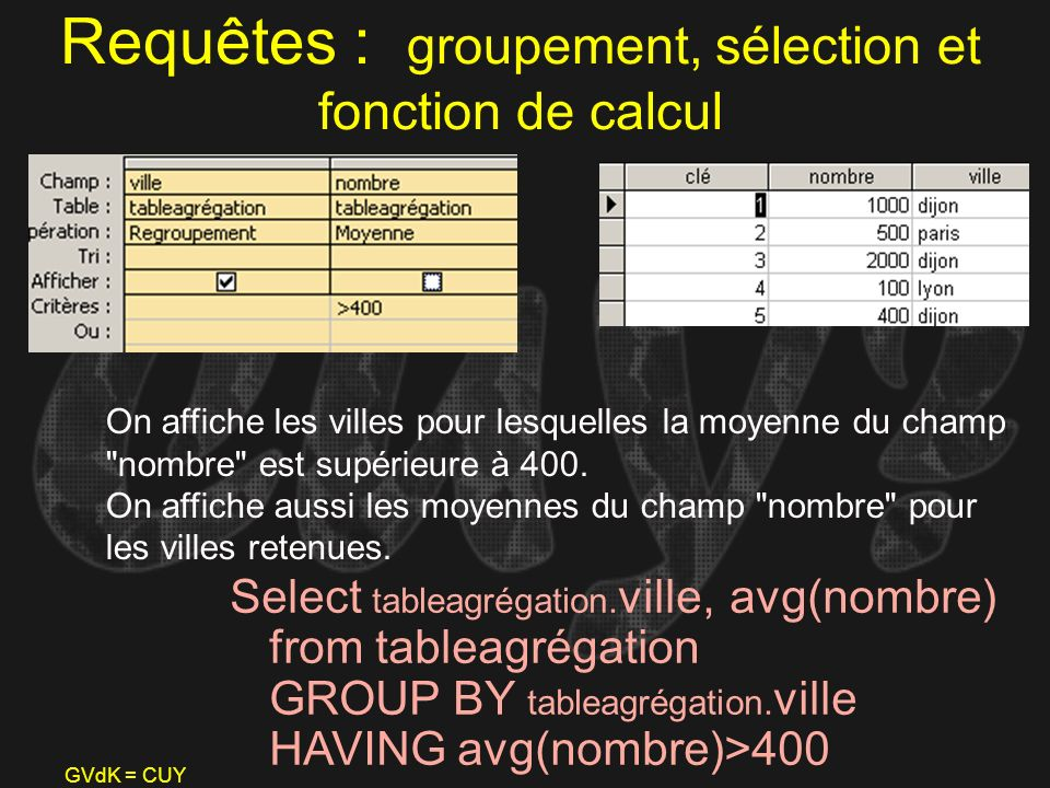 GVdK = CUY Requêtes : groupement, sélection et fonction de calcul Select tableagrégation. ville, avg(nombre) from tableagrégation GROUP BY tableagréga