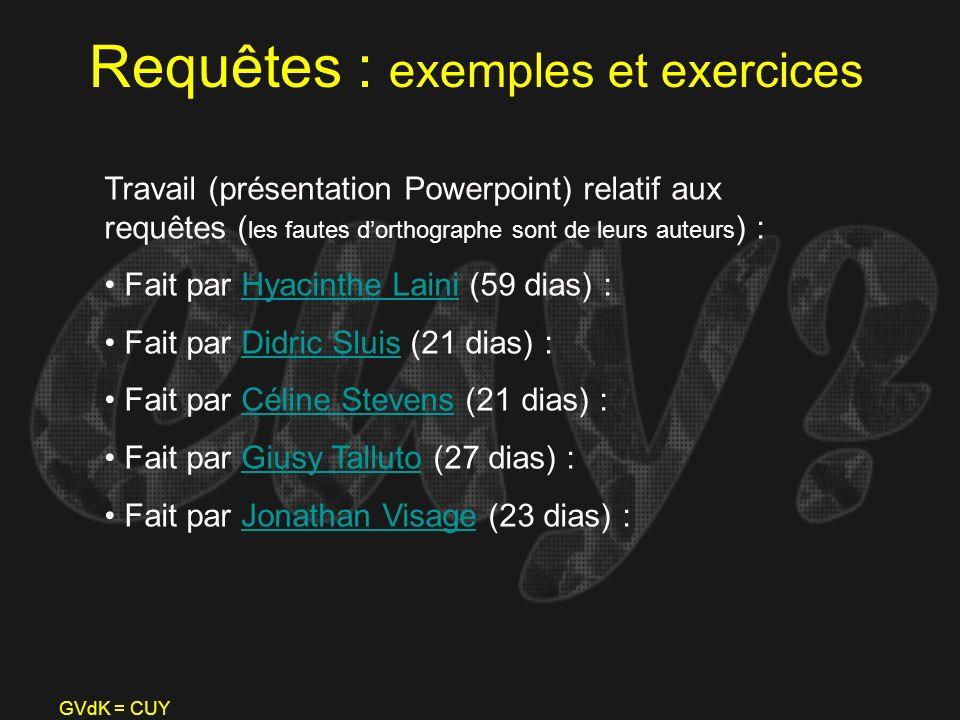 GVdK = CUY Requêtes : exemples et exercices Travail (présentation Powerpoint) relatif aux requêtes ( les fautes dorthographe sont de leurs auteurs ) :