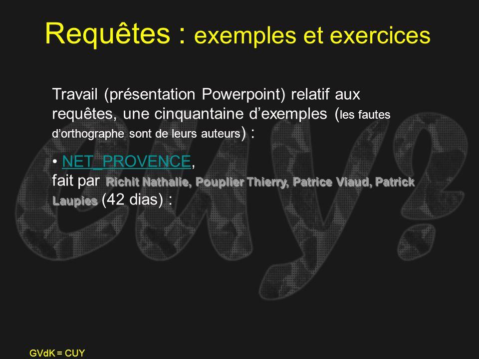 GVdK = CUY Requêtes : exemples et exercices Travail (présentation Powerpoint) relatif aux requêtes, une cinquantaine dexemples ( les fautes dorthograp