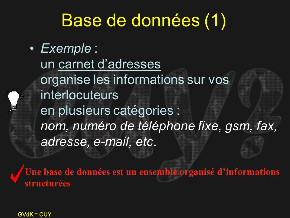 GVdK = CUY Base de données (1) Exemple : un carnet dadresses organise les informations sur vos interlocuteurs en plusieurs catégories : nom, numéro de