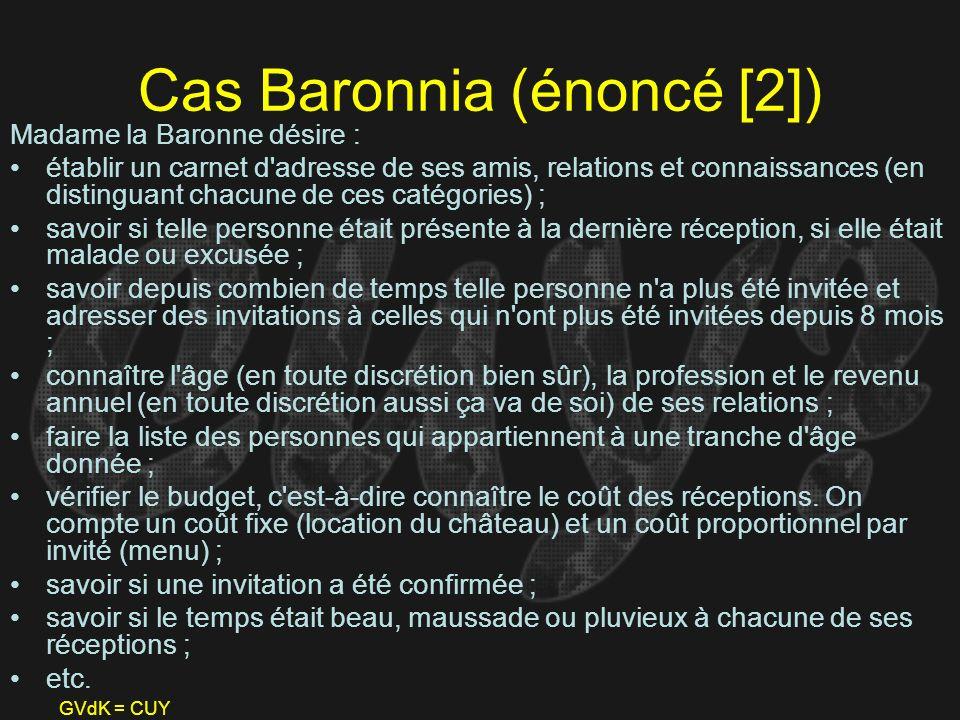 GVdK = CUY Cas Baronnia (énoncé [2]) Madame la Baronne désire : établir un carnet d'adresse de ses amis, relations et connaissances (en distinguant ch