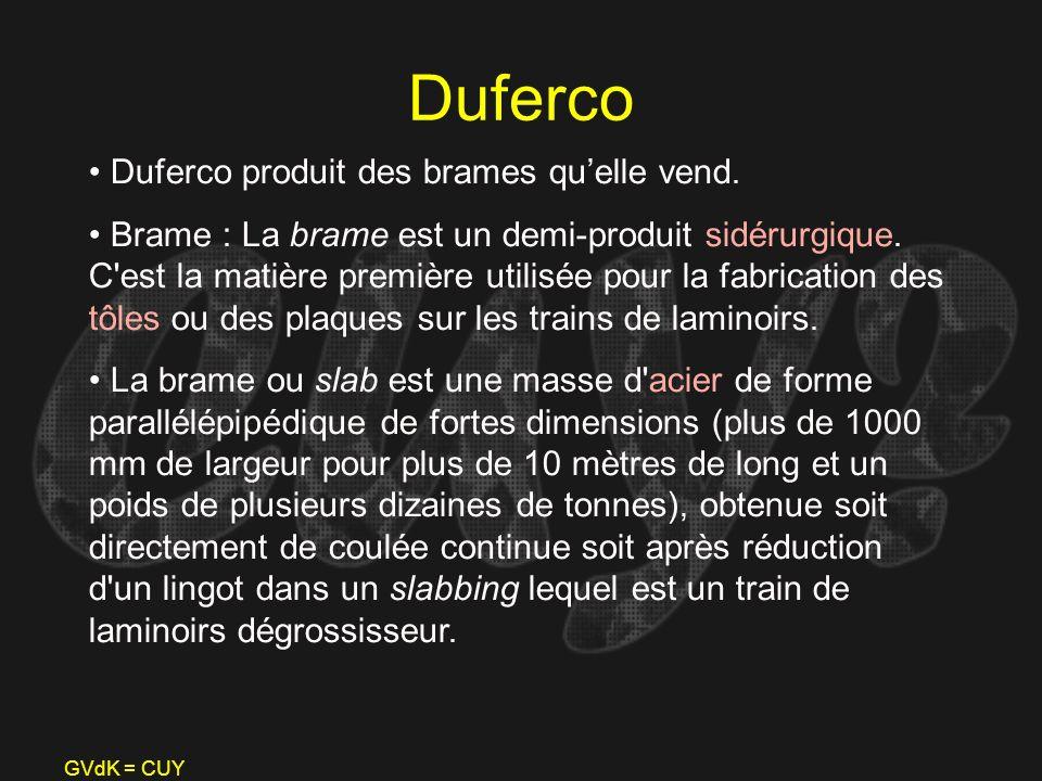 GVdK = CUY Duferco Duferco produit des brames quelle vend. Brame : La brame est un demi-produit sidérurgique. C'est la matière première utilisée pour