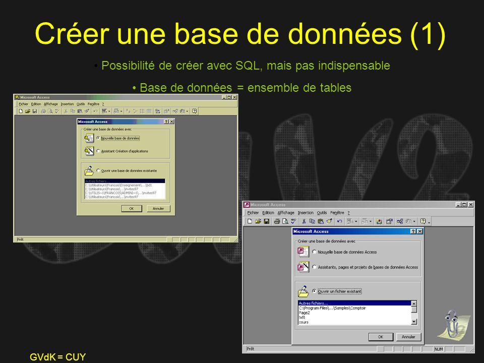 GVdK = CUY Créer une base de données (1) Possibilité de créer avec SQL, mais pas indispensable Base de données = ensemble de tables