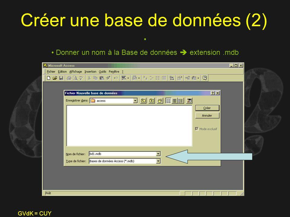 GVdK = CUY Créer une base de données (2) Donner un nom à la Base de données extension.mdb