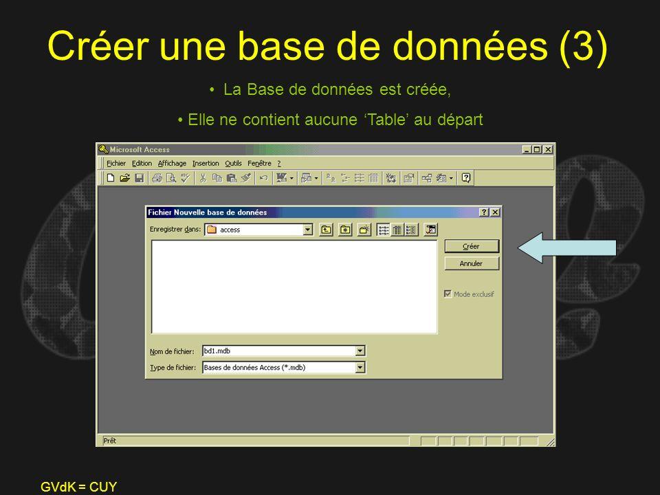 GVdK = CUY Créer une base de données (3) La Base de données est créée, Elle ne contient aucune Table au départ