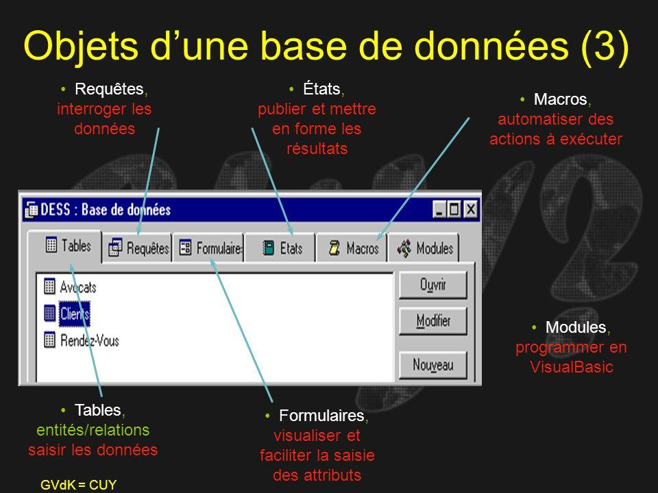 GVdK = CUY Objets dune base de données (3) Tables, entités/relations saisir les données Requêtes, interroger les données Formulaires, visualiser et fa