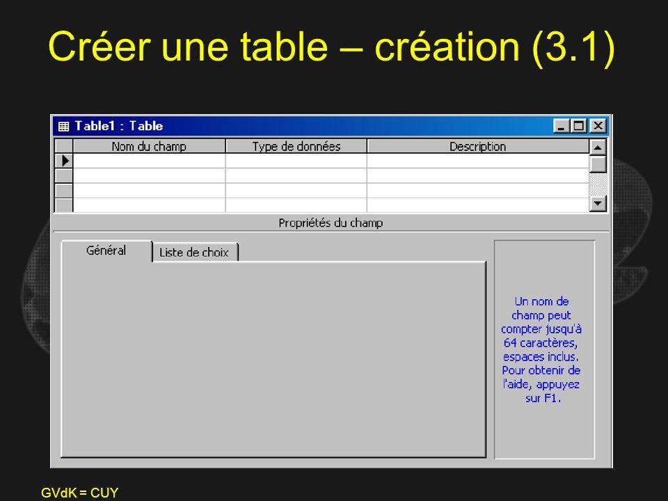GVdK = CUY Créer une table – création (3.1)