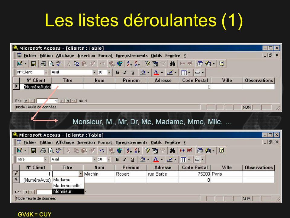 GVdK = CUY Les listes déroulantes (1) Monsieur, M., Mr, Dr, Me, Madame, Mme, Mlle, …