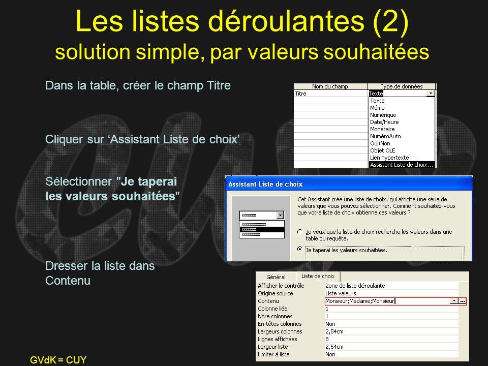 GVdK = CUY Les listes déroulantes (2) solution simple, par valeurs souhaitées Dans la table, créer le champ Titre Cliquer sur Assistant Liste de choix