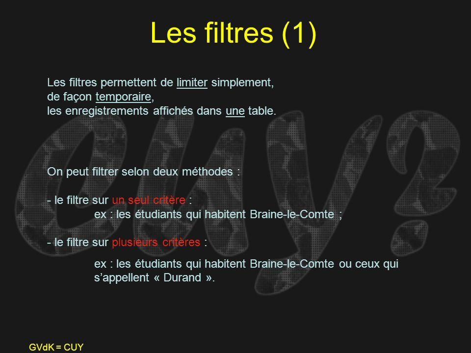 GVdK = CUY Les filtres (1) Les filtres permettent de limiter simplement, de façon temporaire, les enregistrements affichés dans une table. On peut fil