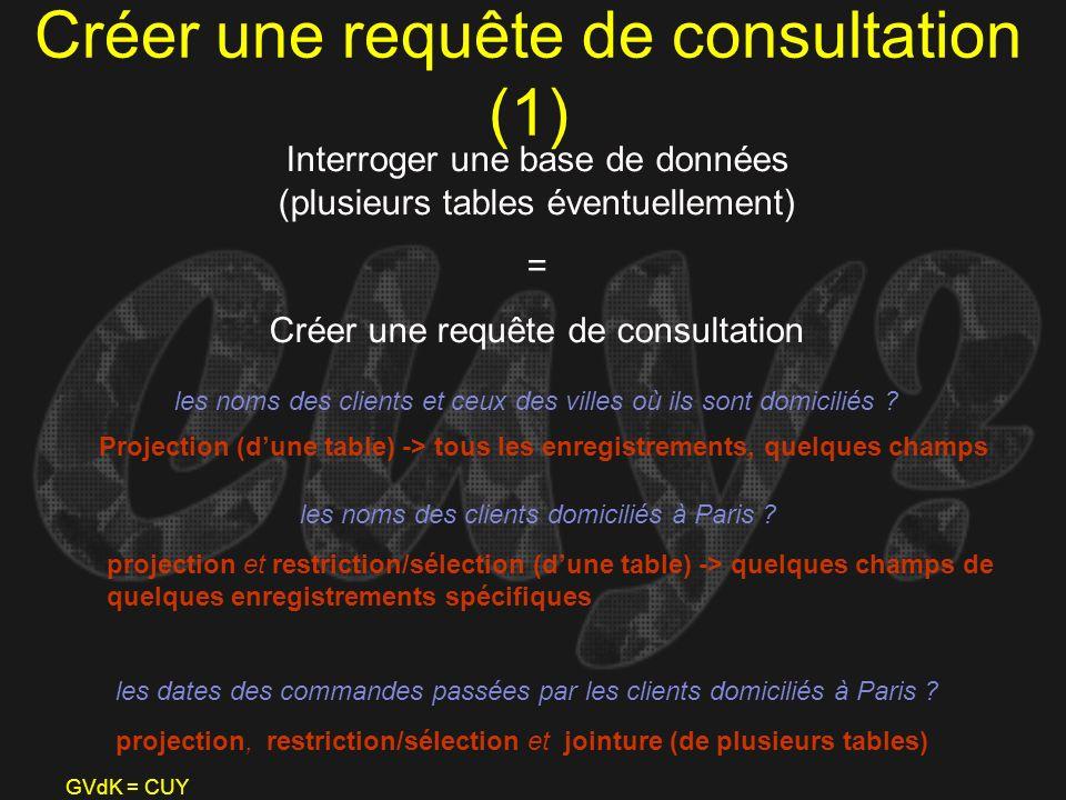 GVdK = CUY Créer une requête de consultation (1) Interroger une base de données (plusieurs tables éventuellement) = Créer une requête de consultation