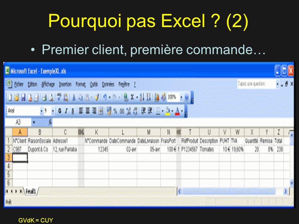 GVdK = CUY Pourquoi pas Excel ? (2) Premier client, première commande…
