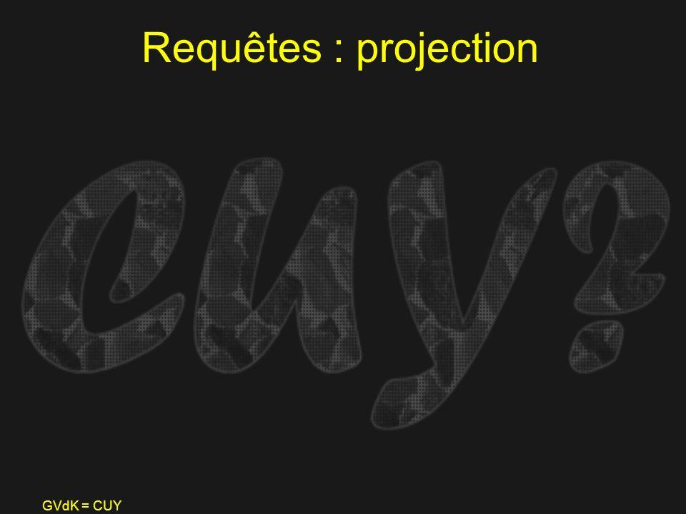 GVdK = CUY Requêtes : projection
