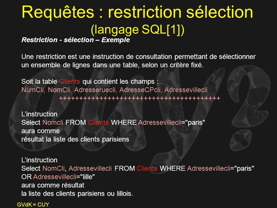 GVdK = CUY Requêtes : restriction sélection (langage SQL[1]) Restriction - sélection – Exemple Une restriction est une instruction de consultation per