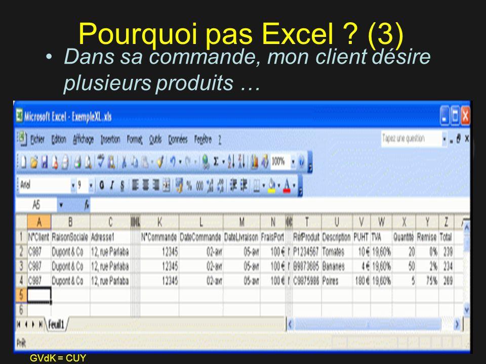 GVdK = CUY Pourquoi pas Excel ? (3) Dans sa commande, mon client désire plusieurs produits …