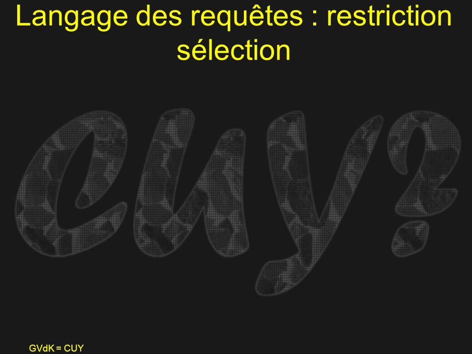 GVdK = CUY Langage des requêtes : restriction sélection