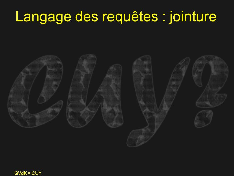 GVdK = CUY Langage des requêtes : jointure