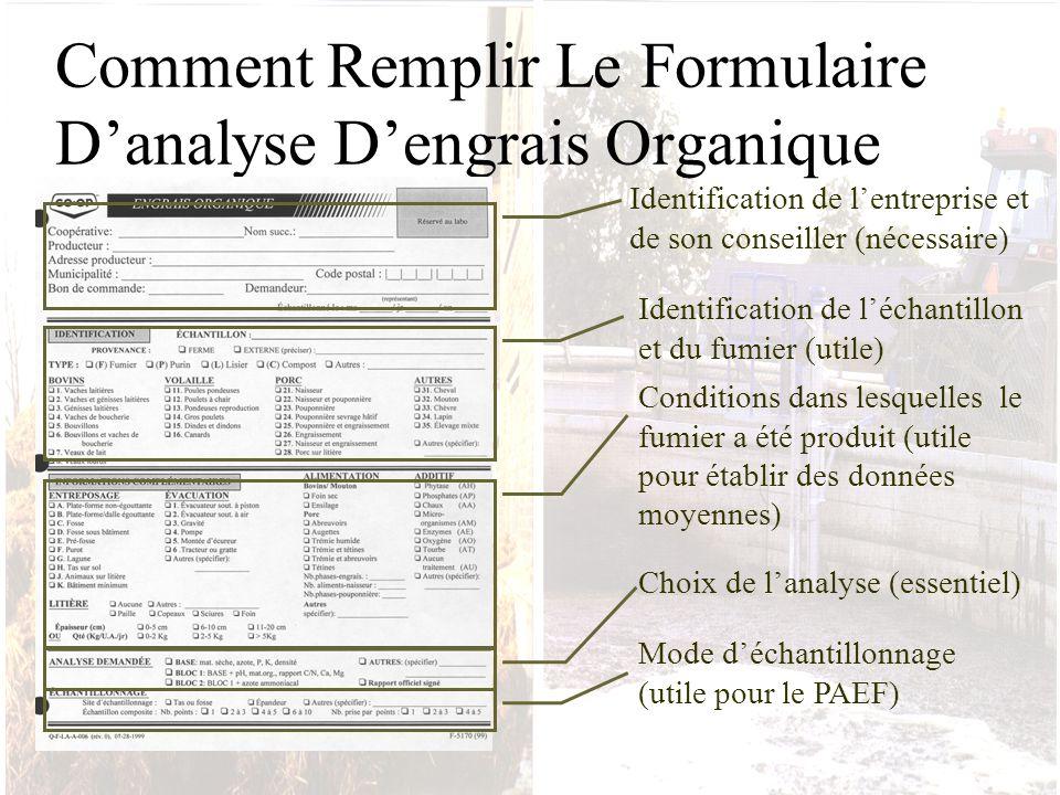 Comment Remplir Le Formulaire Danalyse Dengrais Organique Identification de lentreprise et de son conseiller (nécessaire) Identification de léchantill