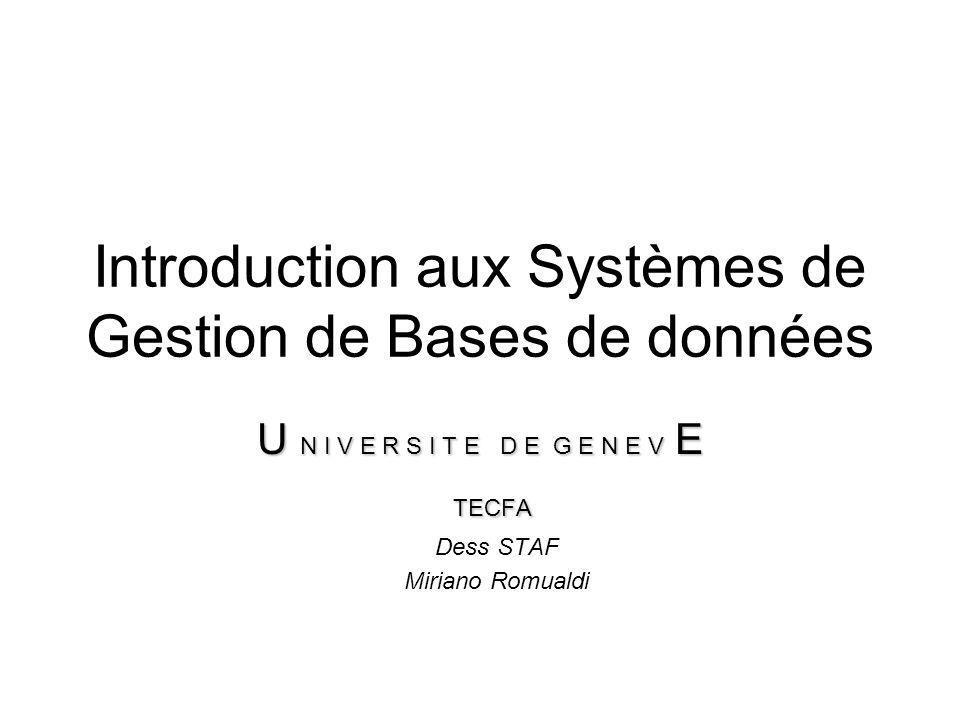 Introduction aux Systèmes de Gestion de Bases de données U N I V E R S I T E D E G E N E V E TECFA TECFA Dess STAF Miriano Romualdi