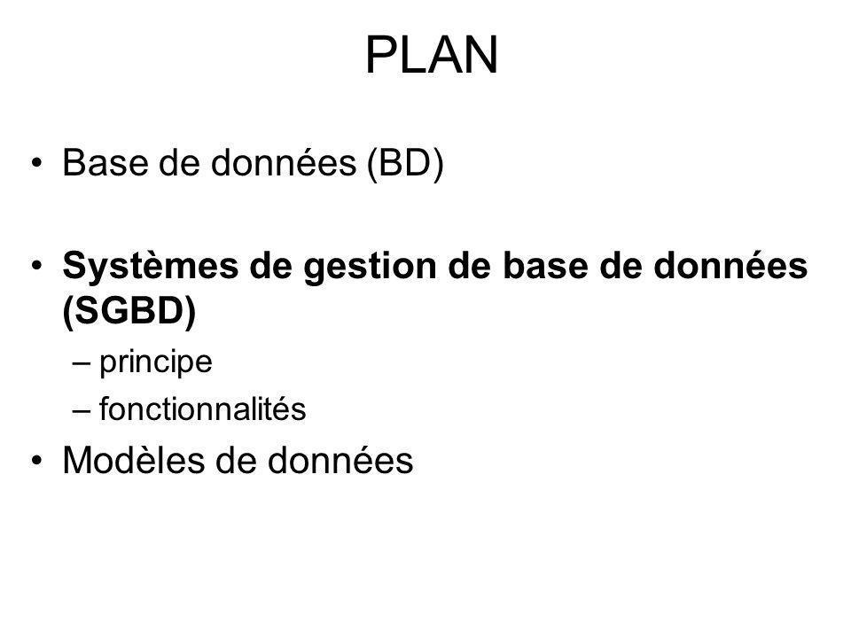 PLAN Base de données (BD) Systèmes de gestion de base de données (SGBD) –principe –fonctionnalités Modèles de données