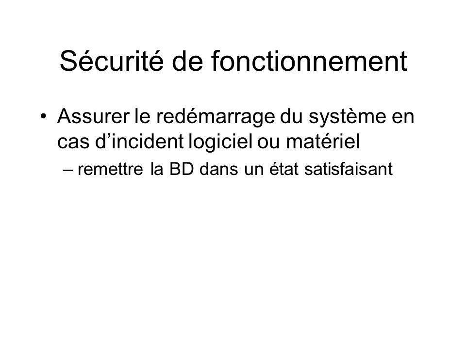 Sécurité de fonctionnement Assurer le redémarrage du système en cas dincident logiciel ou matériel –remettre la BD dans un état satisfaisant