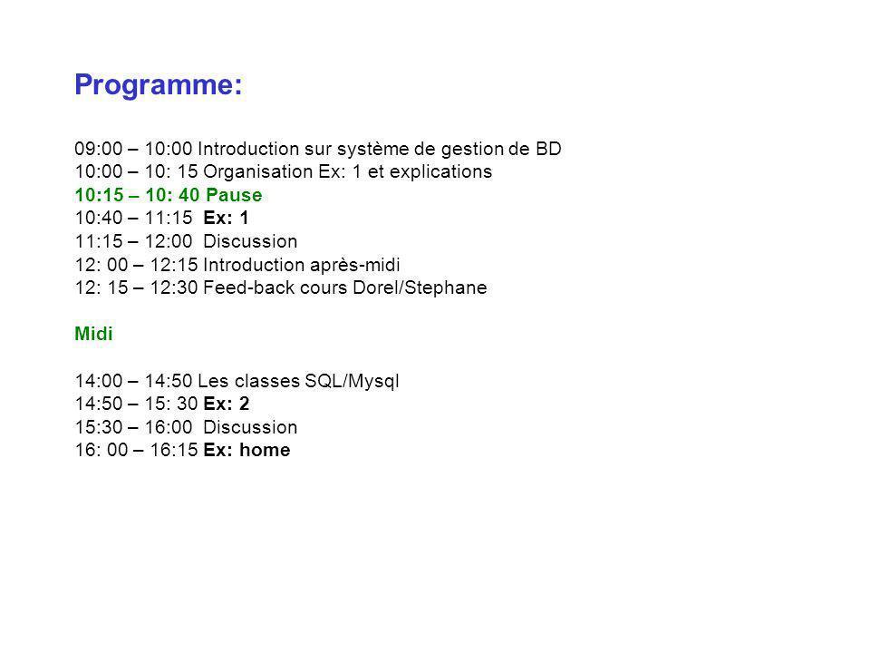 Programme: 09:00 – 10:00 Introduction sur système de gestion de BD 10:00 – 10: 15 Organisation Ex: 1 et explications 10:15 – 10: 40 Pause 10:40 – 11:15 Ex: 1 11:15 – 12:00 Discussion 12: 00 – 12:15 Introduction après-midi 12: 15 – 12:30 Feed-back cours Dorel/Stephane Midi 14:00 – 14:50 Les classes SQL/Mysql 14:50 – 15: 30 Ex: 2 15:30 – 16:00 Discussion 16: 00 – 16:15 Ex: home