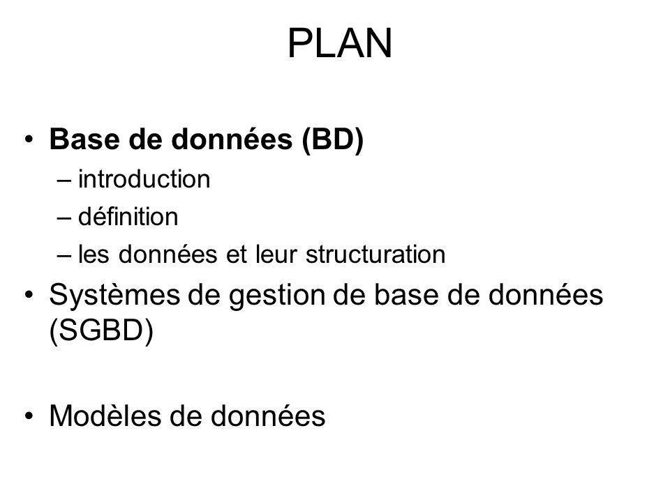 PLAN Base de données (BD) –introduction –définition –les données et leur structuration Systèmes de gestion de base de données (SGBD) Modèles de données