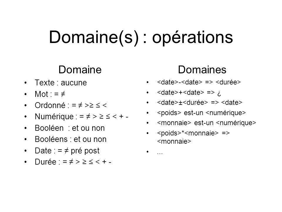 Domaine(s) : opérations Domaine Texte : aucune Mot : = Ordonné : = > < Numérique : = > < + - Booléen : et ou non Booléens : et ou non Date : = pré post Durée : = > < + - Domaines - => + => ¿ ± => est-un * =>...
