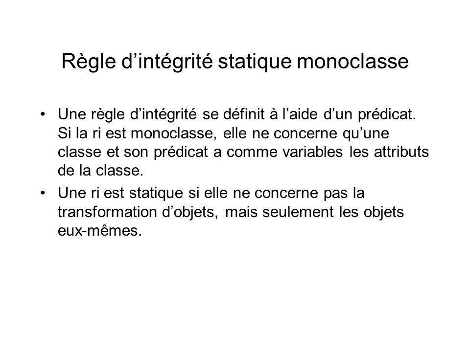 Règle dintégrité statique monoclasse Une règle dintégrité se définit à laide dun prédicat.