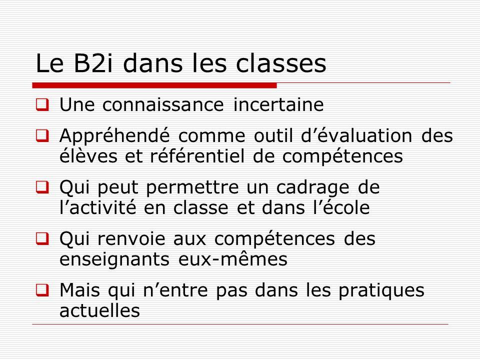 Le B2i dans les classes Une connaissance incertaine Appréhendé comme outil dévaluation des élèves et référentiel de compétences Qui peut permettre un