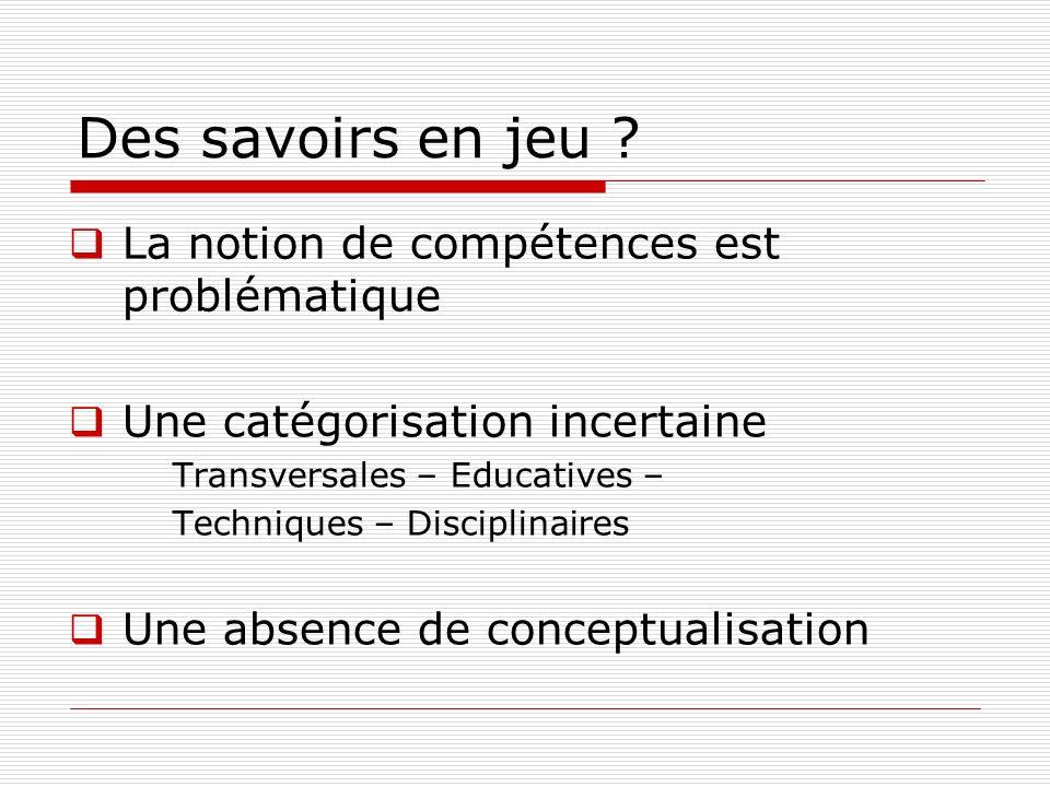 Des savoirs en jeu ? La notion de compétences est problématique Une catégorisation incertaine Transversales – Educatives – Techniques – Disciplinaires