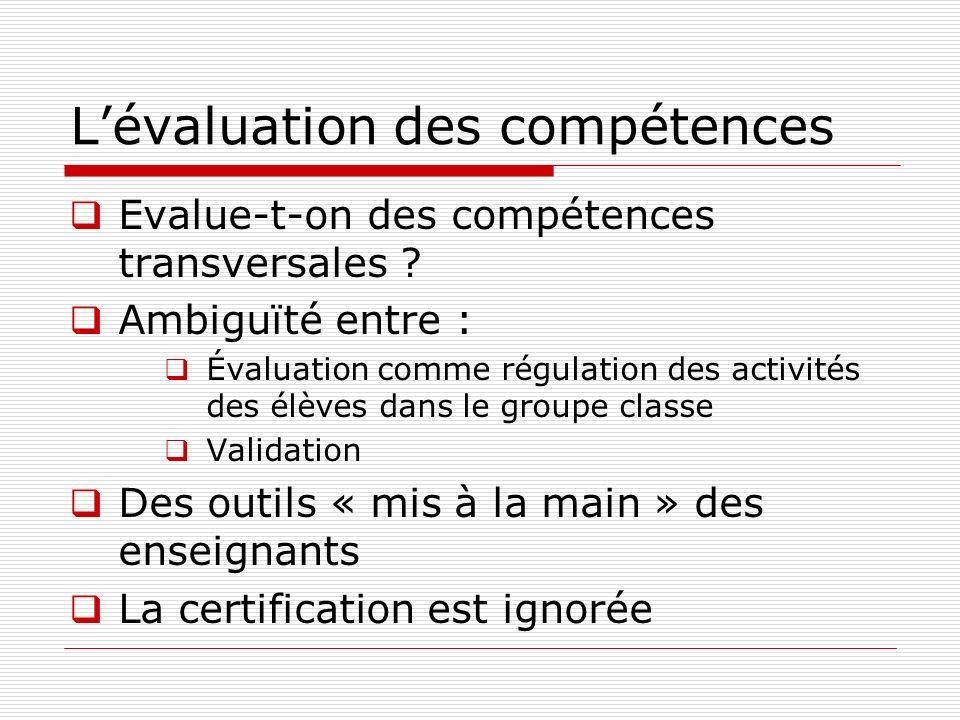 Lévaluation des compétences Evalue-t-on des compétences transversales ? Ambiguïté entre : Évaluation comme régulation des activités des élèves dans le