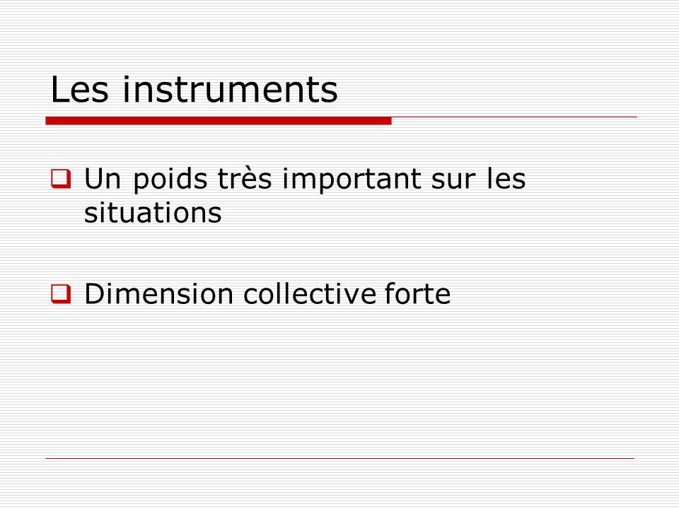 Les instruments Un poids très important sur les situations Dimension collective forte