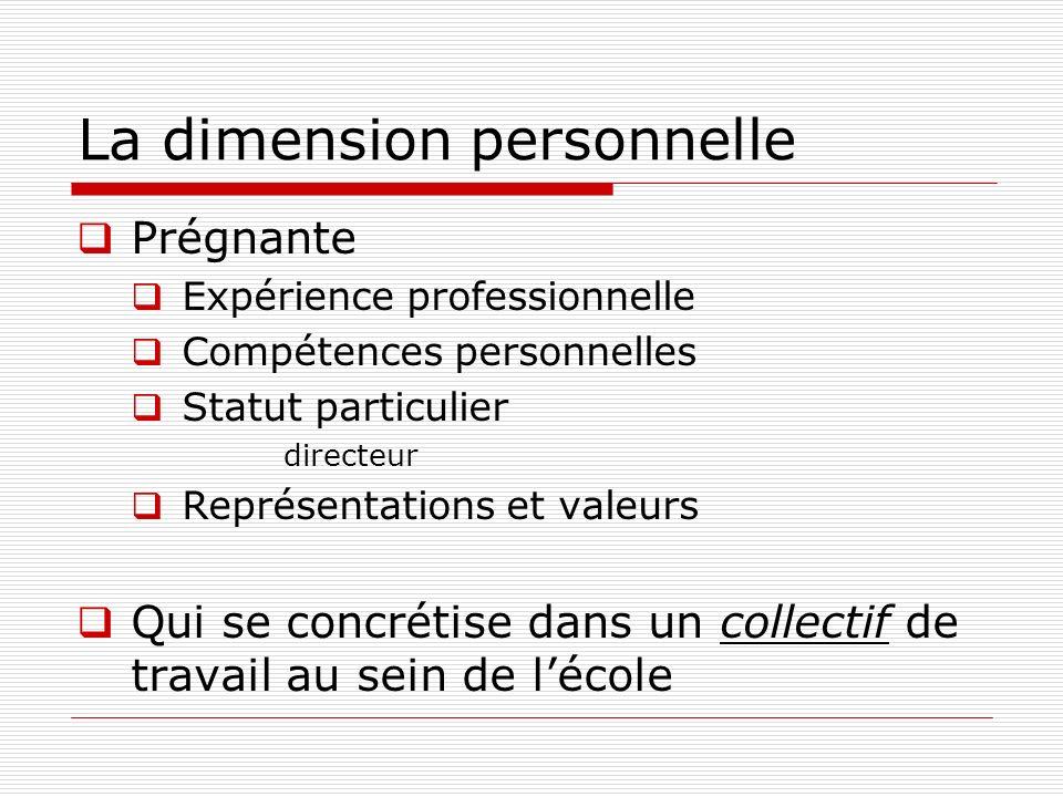 La dimension personnelle Prégnante Expérience professionnelle Compétences personnelles Statut particulier directeur Représentations et valeurs Qui se