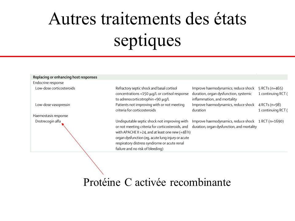 Autres traitements des états septiques Protéine C activée recombinante