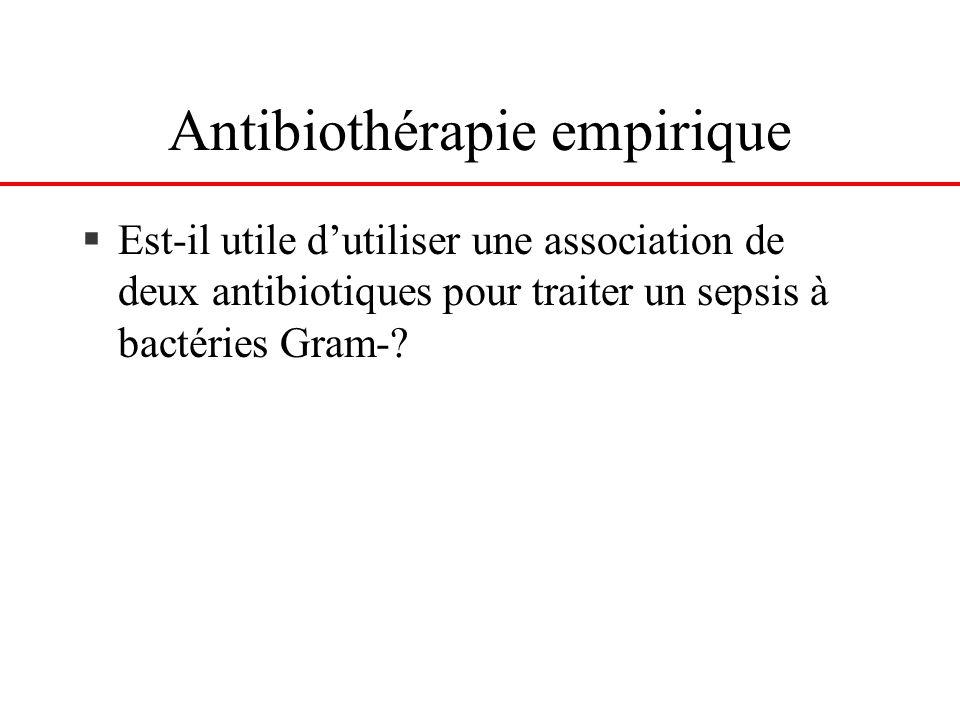 Antibiothérapie empirique §Est-il utile dutiliser une association de deux antibiotiques pour traiter un sepsis à bactéries Gram-?