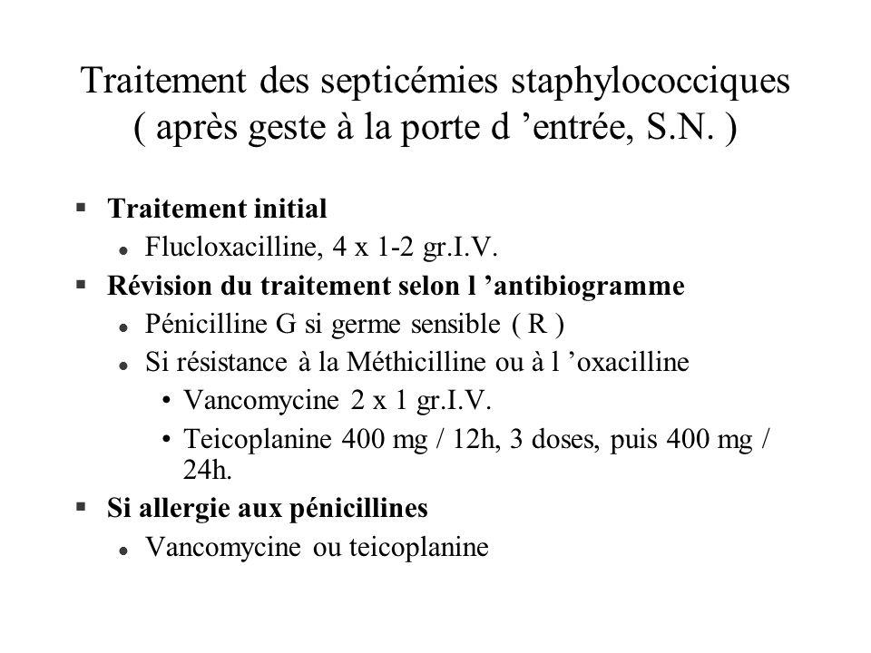 Traitement des septicémies staphylococciques ( après geste à la porte d entrée, S.N. ) §Traitement initial l Flucloxacilline, 4 x 1-2 gr.I.V. §Révisio