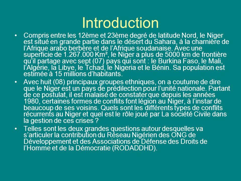 Introduction Compris entre les 12ème et 23ème degré de latitude Nord, le Niger est situé en grande partie dans le désert du Sahara, à la charnière de lAfrique arabo berbère et de lAfrique soudanaise.
