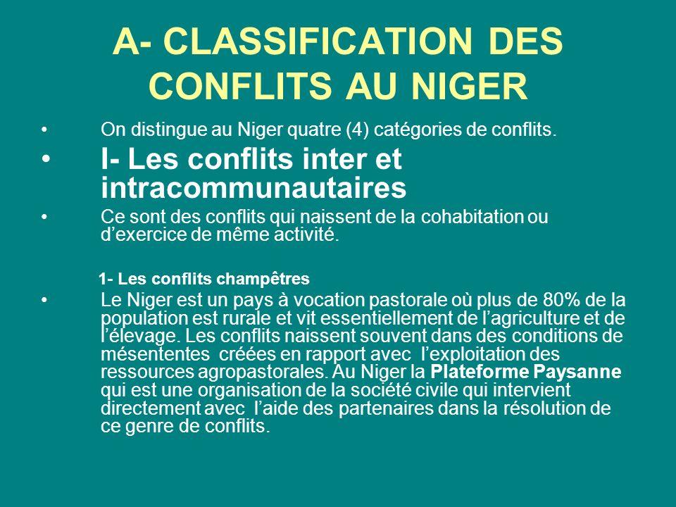 A- CLASSIFICATION DES CONFLITS AU NIGER On distingue au Niger quatre (4) catégories de conflits. I- Les conflits inter et intracommunautaires Ce sont