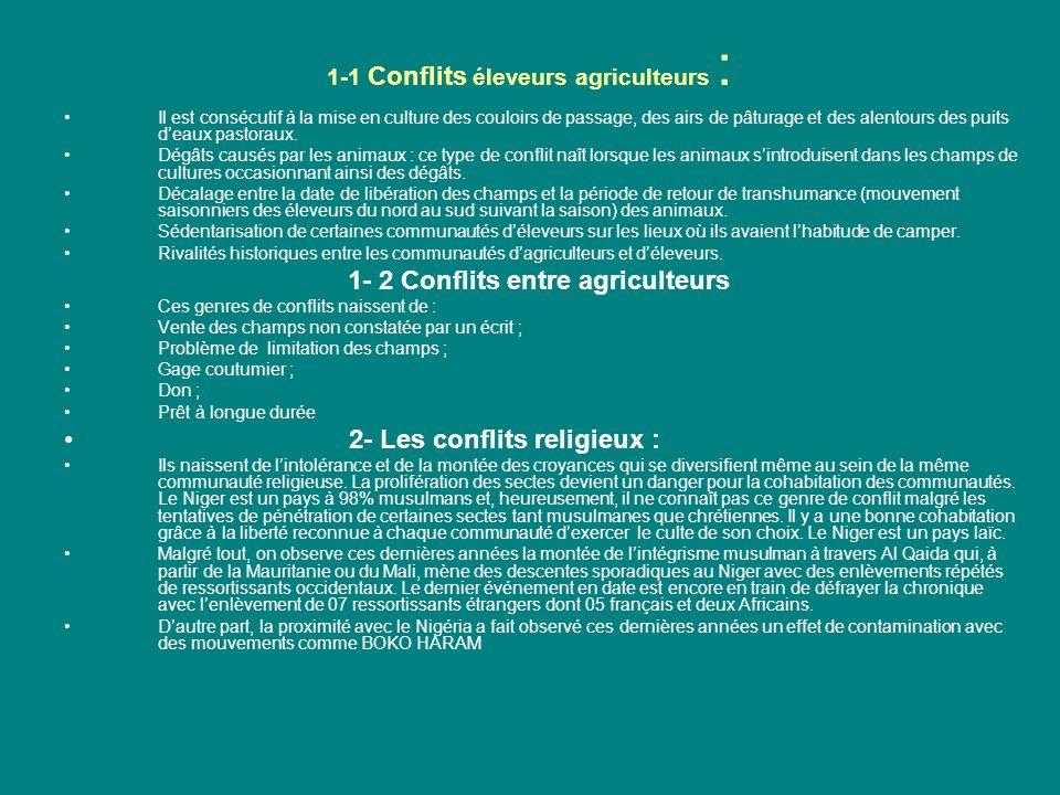 1-1 Conflits éleveurs agriculteurs : Il est consécutif à la mise en culture des couloirs de passage, des airs de pâturage et des alentours des puits deaux pastoraux.