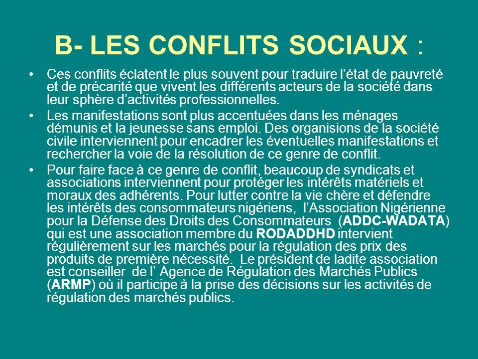 B- LES CONFLITS SOCIAUX : Ces conflits éclatent le plus souvent pour traduire létat de pauvreté et de précarité que vivent les différents acteurs de la société dans leur sphère dactivités professionnelles.