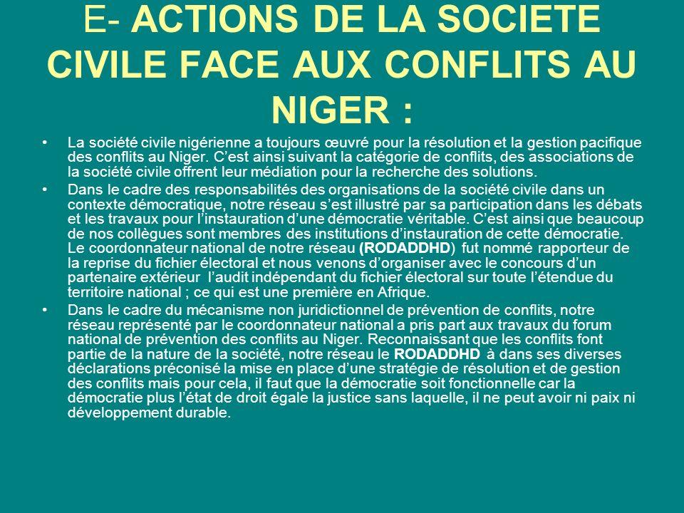E- ACTIONS DE LA SOCIETE CIVILE FACE AUX CONFLITS AU NIGER : La société civile nigérienne a toujours œuvré pour la résolution et la gestion pacifique