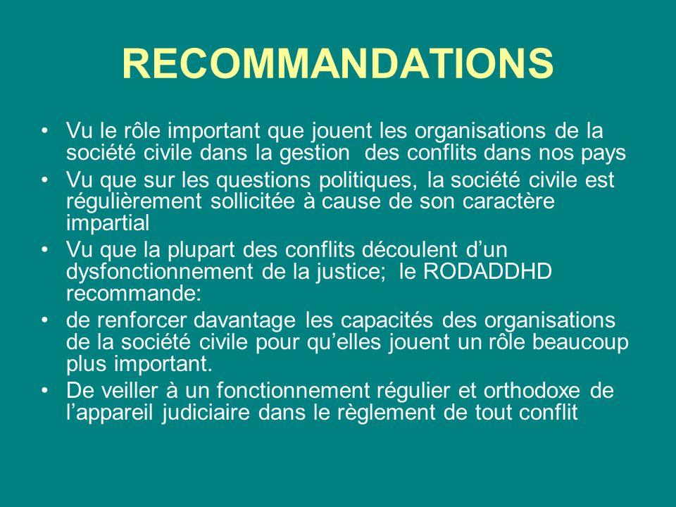 RECOMMANDATIONS Vu le rôle important que jouent les organisations de la société civile dans la gestion des conflits dans nos pays Vu que sur les quest