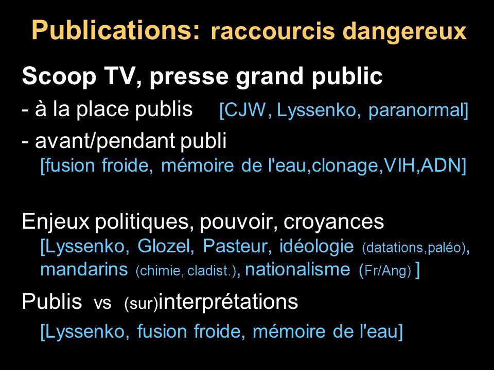 Publications: raccourcis dangereux Scoop TV, presse grand public - à la place publis [CJW, Lyssenko, paranormal] - avant/pendant publi [fusion froide,