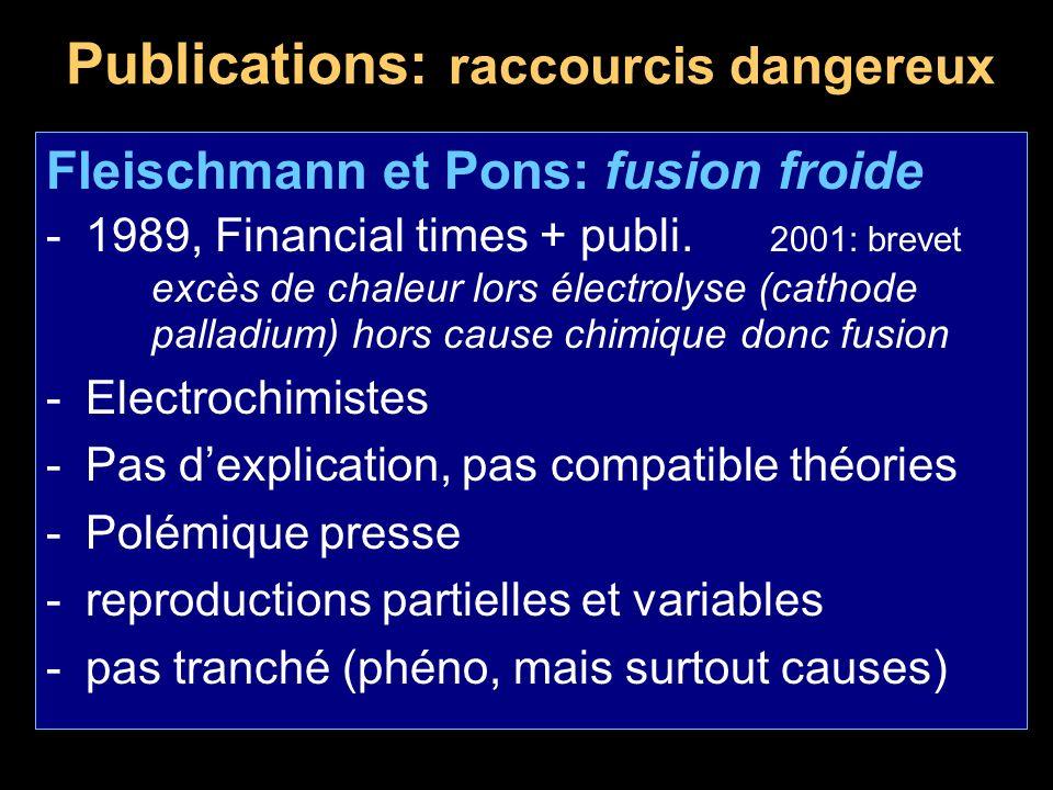 Publications: raccourcis dangereux Fleischmann et Pons: fusion froide -1989, Financial times + publi. 2001: brevet excès de chaleur lors électrolyse (