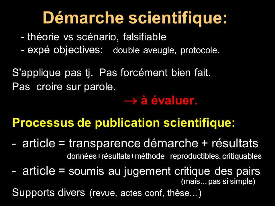 Démarche scientifique: - théorie vs scénario, falsifiable - expé objectives: double aveugle, protocole. S'applique pas tj. Pas forcément bien fait. Pa
